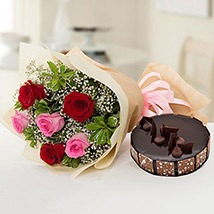Beautiful Roses Bouquet With Chocolate Cake: Flowers and Cakes