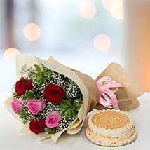 Delightful Roses Bouquet With Butterscotch Cake: Birthday Gift Ideas for Husband
