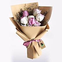Purple & White Roses Bouquet: