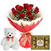 Chocolate with Red Roses & Teddy Bear: Teddy Day Gifts