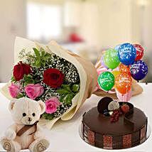 Happy Birthday Cake & Roses Hamper: Soft Toys