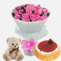 Strawberry Cake with Roses & Soft Toy: Teddy Day Gift Ideas