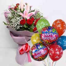 Anniversary Flowers Bouquet & Balloons Combo: