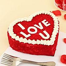 I Love You Heart Shape Red Velvet Cake: Promise Day Gift Ideas