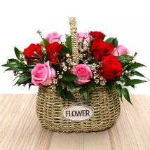 Red and Pink Roses Mini Basket: Valentines Day Roses
