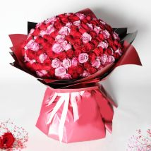 200 Red and Pink Roses Bouquet: