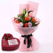 Beautiful Roses Bouquet With Heart Shape Cake: Best Valentine Gift for Girlfriend