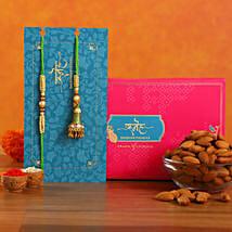 Ethnic Green Pearl And Lumba Rakhi Set With Healthy Almonds: