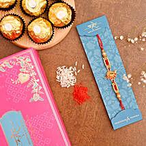 Red Peacock Designer Rakhi And 3 Pcs Ferrero Rocher: Buy Rakhi with Chocolates
