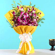 Ten Exotic Purple Orchids Bunch: Birthday Flowers
