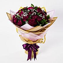 Alluring Purple Carnations Bouquet: Send Birthday Flowers