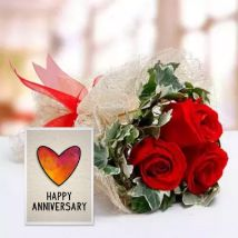 Red Roses Bouquet & Handmade Greeting Card: Anniversary Gifts for Husband